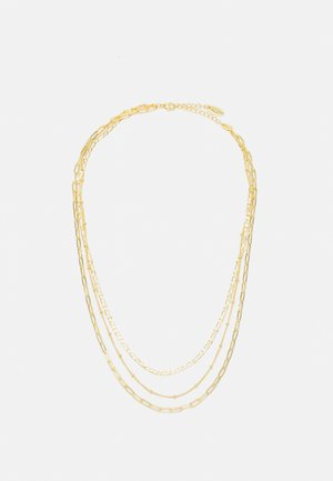 MIXED CHAIN 3 ROW NECKLACE - Necklace - pale gold-coloured