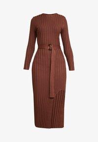 Missguided - BELTED MIDAXI FRONT SPLIT DRESS - Vestido de punto - chocolate - 5