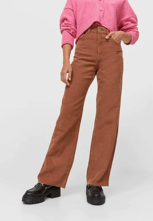 STRAIGHT-FIT AUS  - Trousers - dark brown
