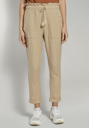 Trousers - cream toffee