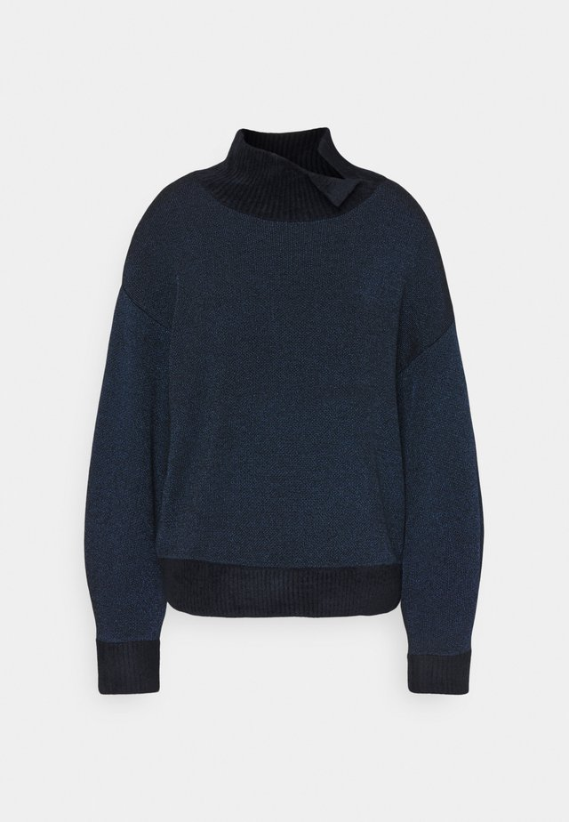 DOUBLE FACE TURTLENECK - Strickpullover - navy/gunmetal