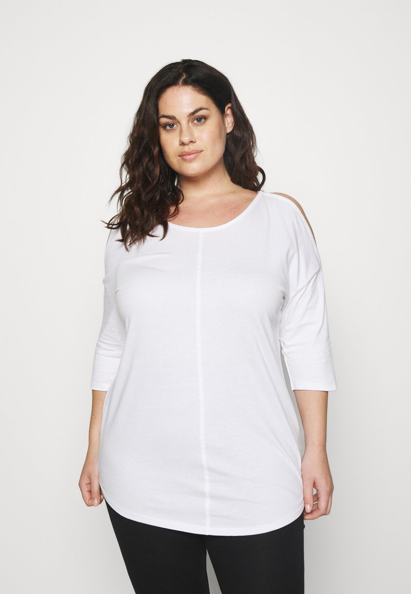 CAPSULE by Simply Be - COLD SHOULDER TUNIC - T-shirts med print - white