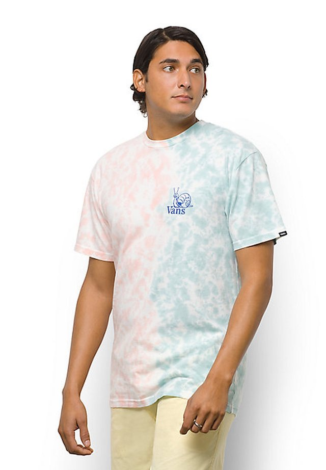 MN TELL A FRIEND TIE DYE SS - T-shirt con stampa - fusion coral/cameo blue