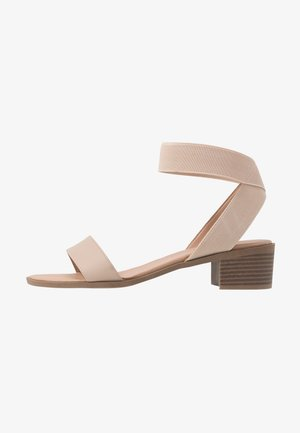 WIDE FIT POWER BLOCK HEEL - Sandals - oatmeal