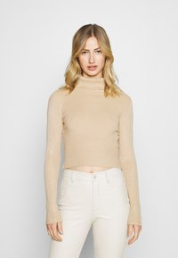 Even&Odd - 2-PACK-CROPPED TURTLE NECK - Jumper - black/sand - 4