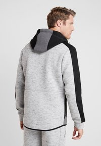 Superdry - GYMTECH COLOURBLOCK ZIPHOOD - Zip-up hoodie - light grey marl/black - 2