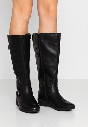 WIDE FIT COMFORT LONG BOOT - Stiefel - black