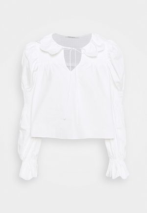 SCALLOP COLLAR SHIRRED BLOUSE WITH PUFF LONG SLEEVES AND NECK TALL - Blouse - white