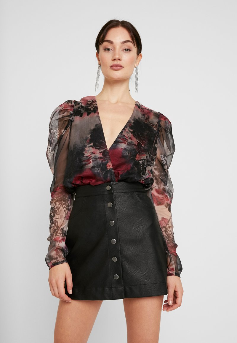 Missguided - FOREST PRINTED PUFF SLEEVE BODYSUIT - Blusa - brown