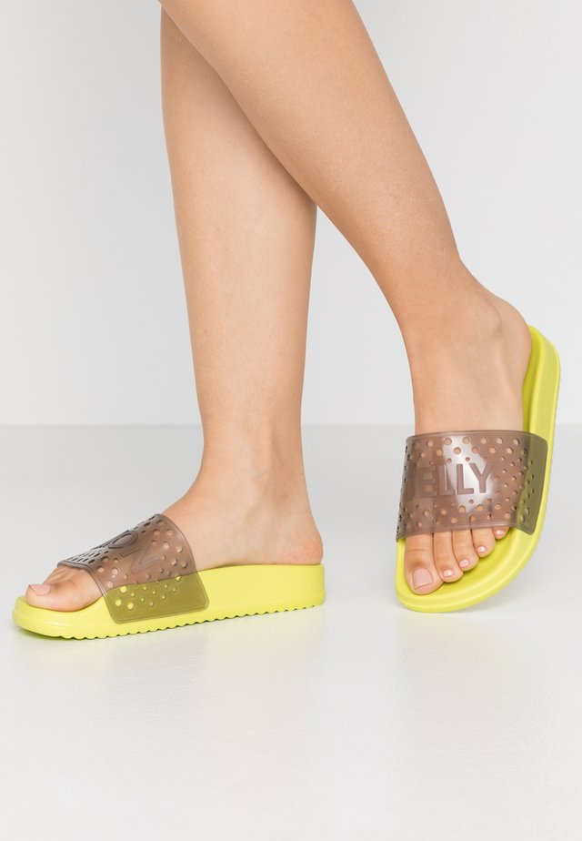 EVIE - Pool slides - lime/translucid charcoal
