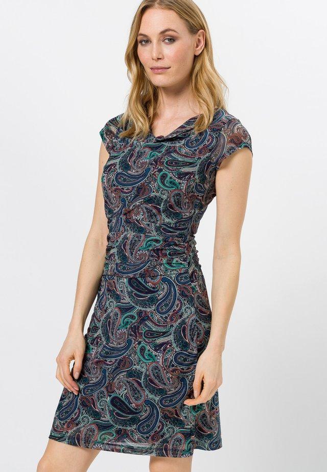 MIT WASSERFALLAUSSCHNITT - Jersey dress - desert night blue