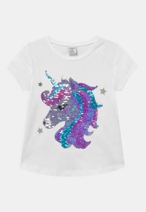 FLIP SEQUINS UNICORN - Camiseta estampada - light dusty white