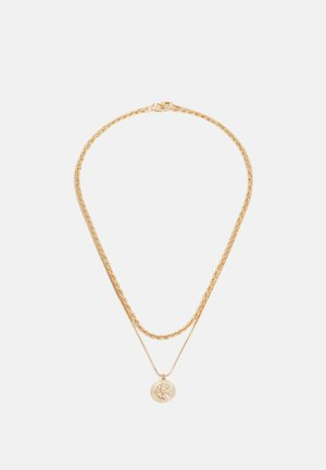 ENGRAVED COIN MULTIROW NECKLACE SET - Smykke - gold-coloured