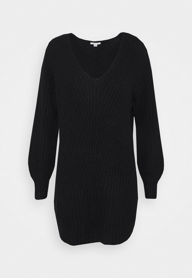 OPEN VEE HILO SWEATER DRESS - Gebreide jurk - black