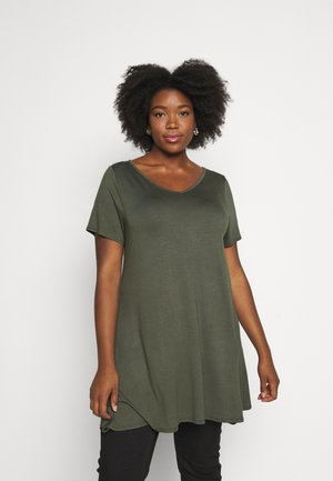 VNECK SHORT SLEEVE SWING  - T-shirts - green