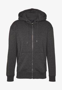 JJESOFT ZIP HOOD - Bluza rozpinana - dark grey melange