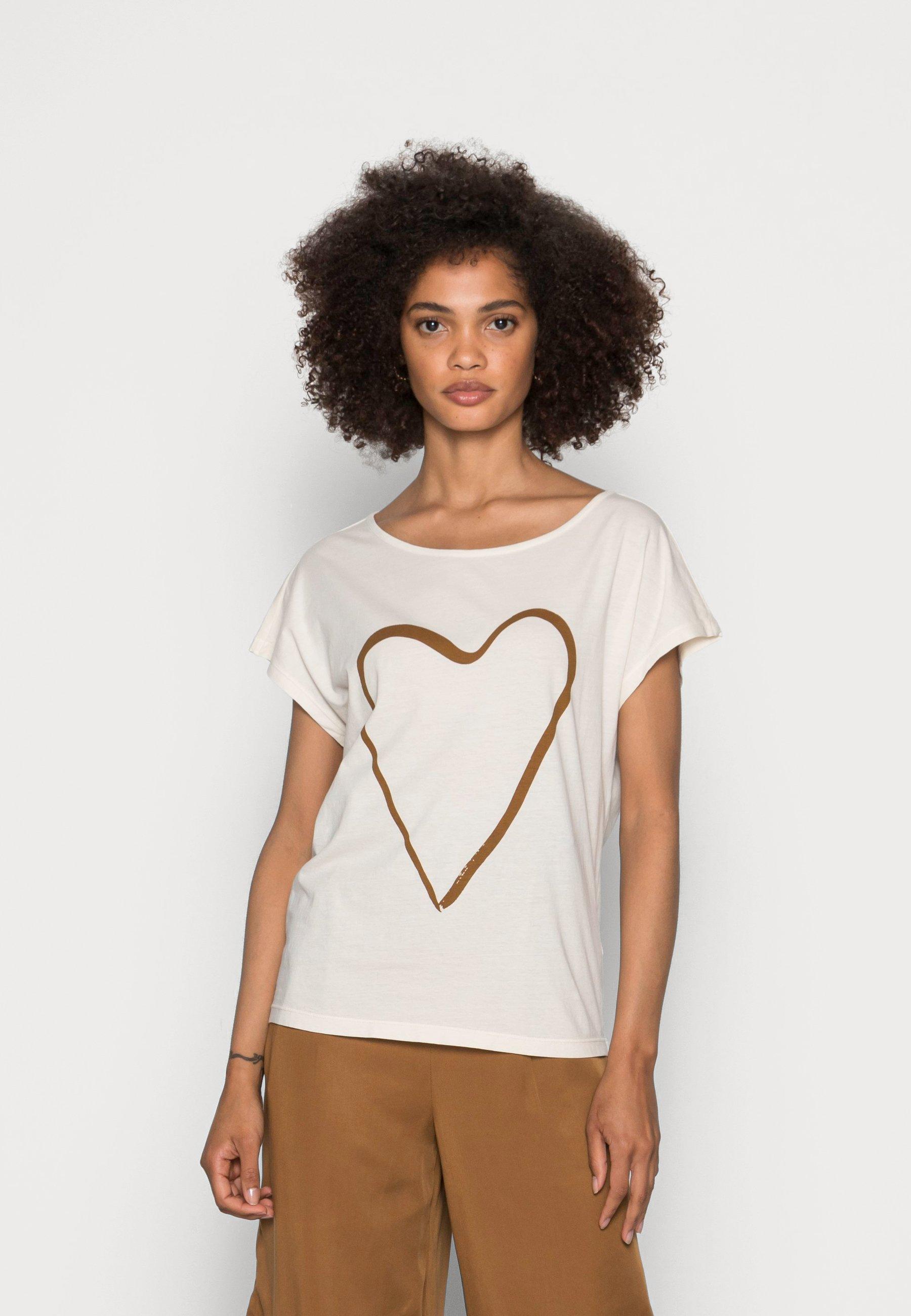 Women SHORT SLEEVE BOAT-NECK ARTWORK ON CHEST - Basic T-shirt