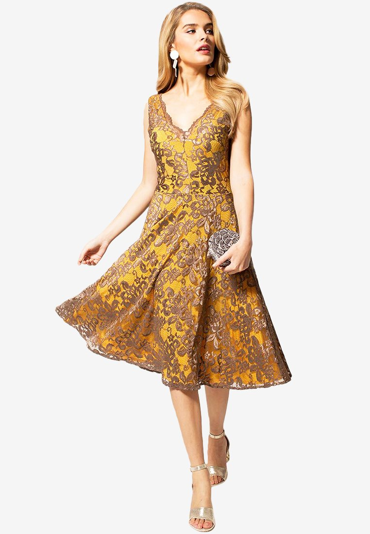 HotSquash - FLORAL  - Cocktail dress / Party dress - mustard brown