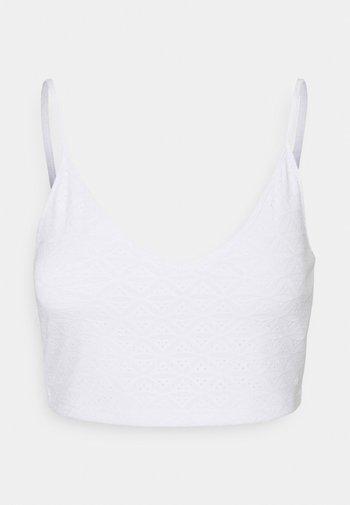Stickerei Top - Topper - white