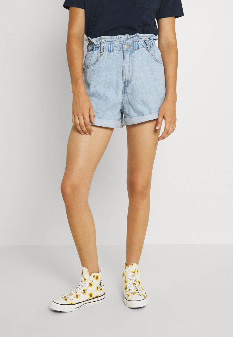Gina Tricot - PAPERBAG - Jeans Shorts - pale blue
