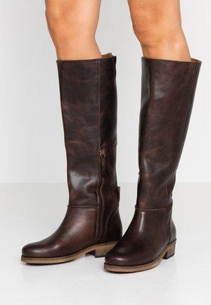KATHLEEN - Boots - dark brown/natural