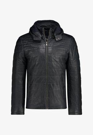 Leather jacket - dark-blue plain