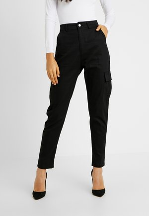 HIGH WAISTED TROUSERS WITH SIDE POCKETS - Kangashousut - black