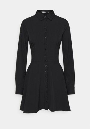 BUTTON DOWN SKATER DRESS - Shirt dress - black