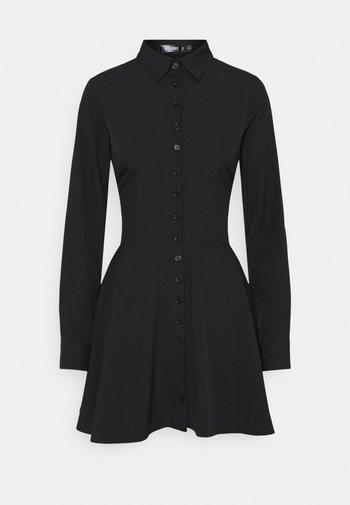 BUTTON DOWN SKATER DRESS - Skjortekjole - black