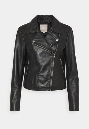 PCSUSSE JACKET - Leather jacket - black