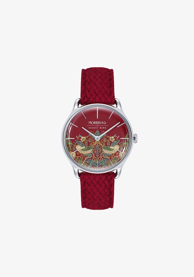 UHR MORRIS & CO SILVER RED PERLON 30MM - Watch - crimson