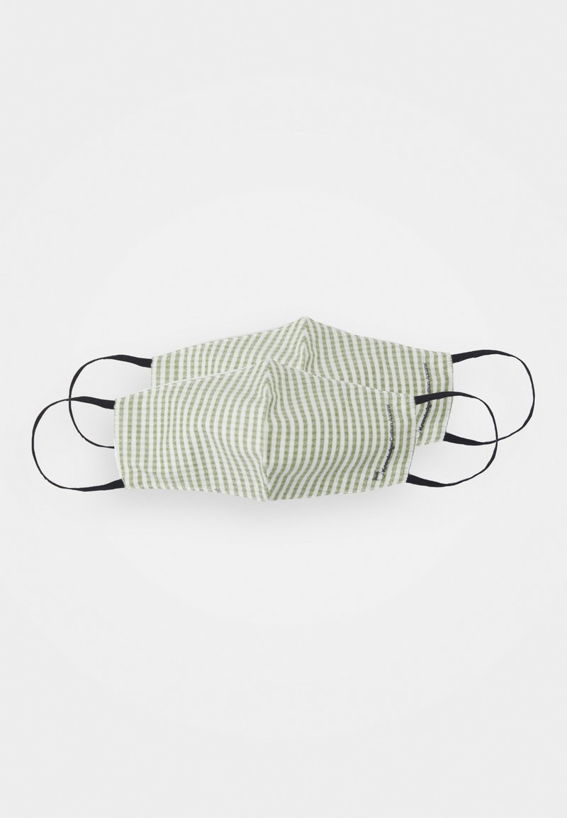 KnowledgeCotton Apparel - PATTERN FASHION MASKS UNISEX 2PACK - Stoffen mondkapje - offwhite/green