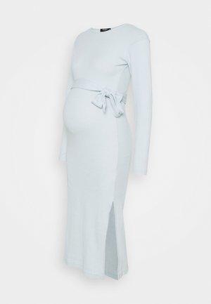 BELT SIDE SPLIT MIDI DRESS - Vestido de punto - blue