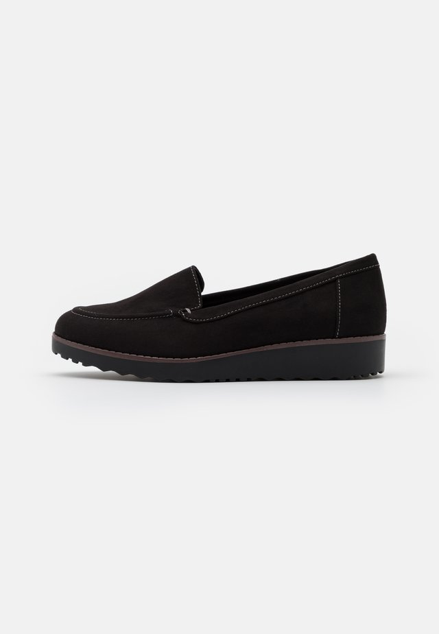 WIDE FIT CONTRAST STITCH LOAFER - Slippers - black