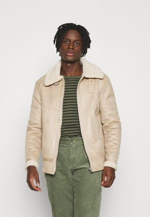 AVIATOR - Faux leather jacket - stone