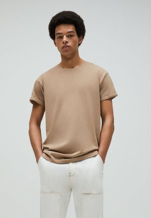 Basic T-shirt - mottled beige