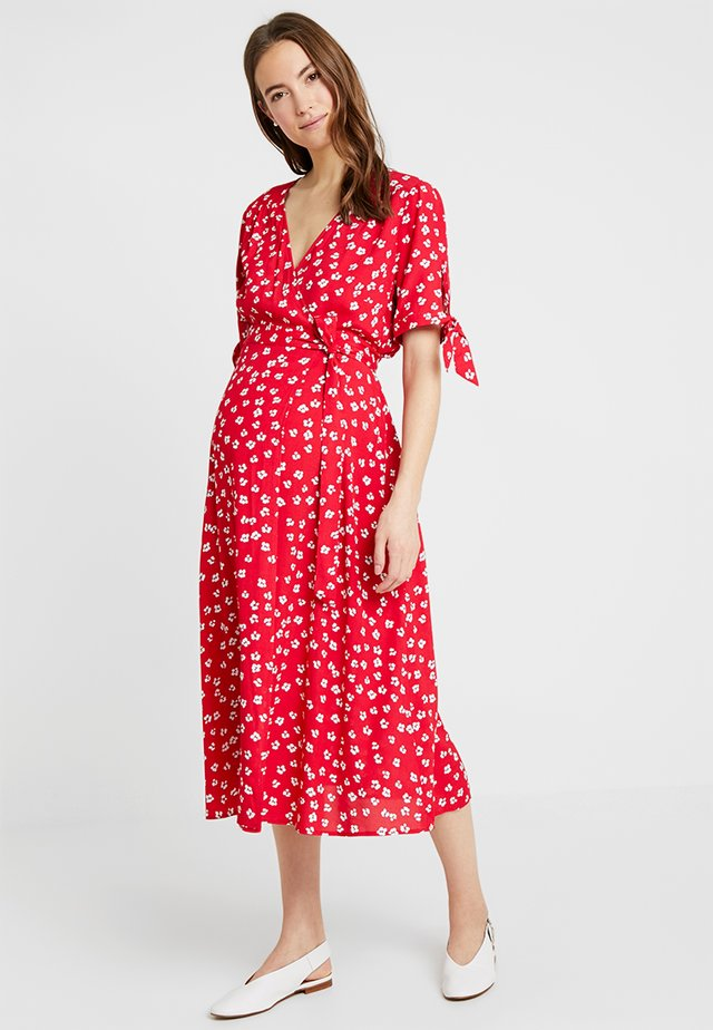 BESSIE MIDI WRAP DRESS - Day dress - red