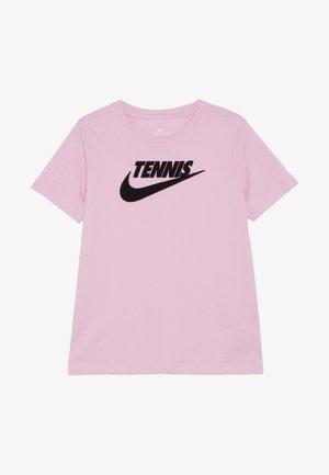 TEE TENNIS - Triko spotiskem - pink rise/black