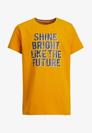 MET GLITTEROPDRUK - Camiseta estampada - ochre yellow