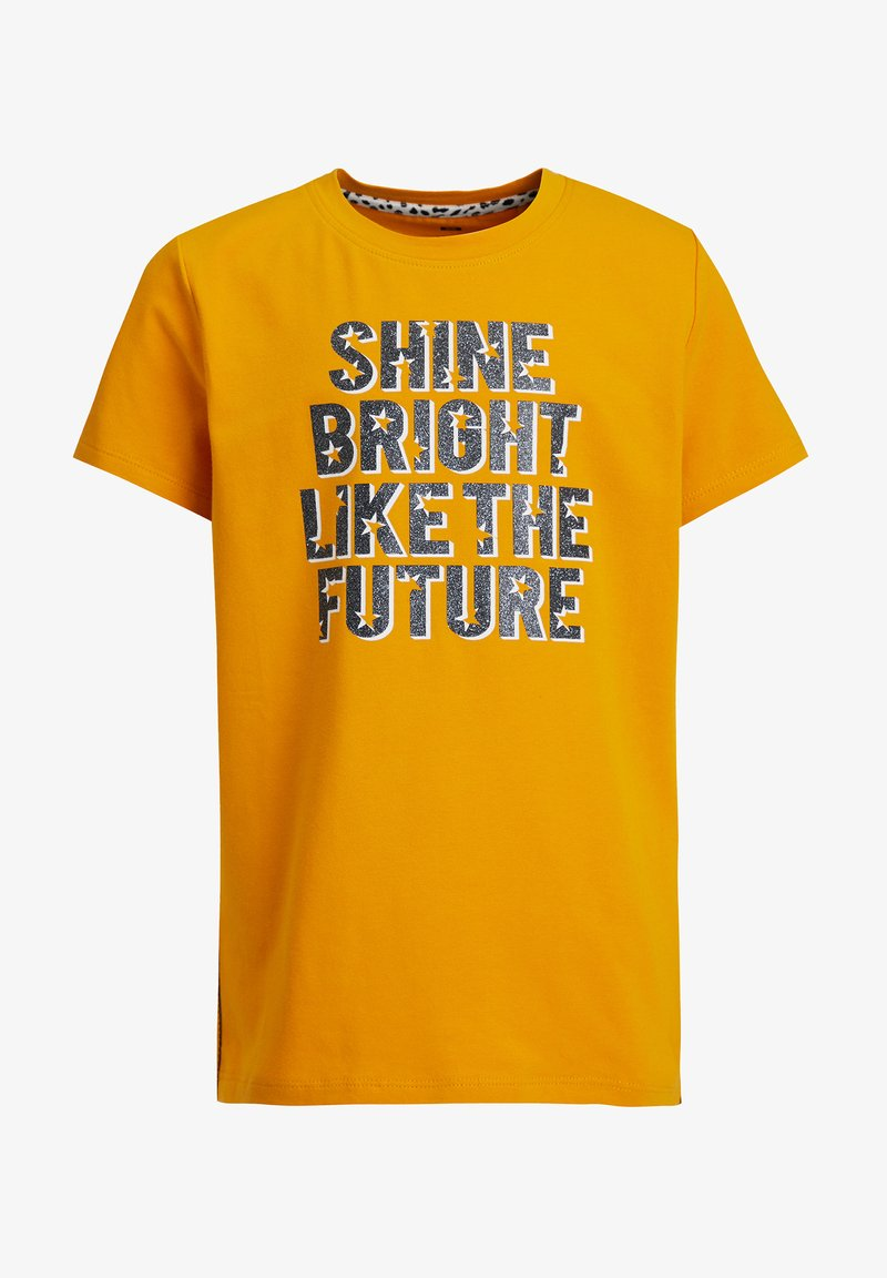 WE Fashion - MET GLITTEROPDRUK - Print T-shirt - ochre yellow
