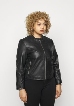 SLFVIBI JACKET CURVE - Leather jacket - black