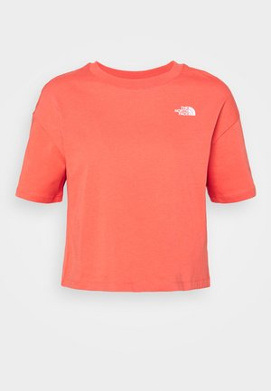 DISTORTED LOGO CROP TEE - T-paita - spiced coral