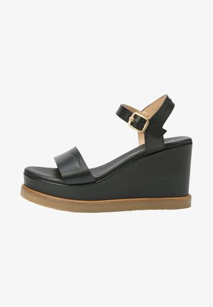 MIT KEILABSATZ - Sandały na koturnie - black