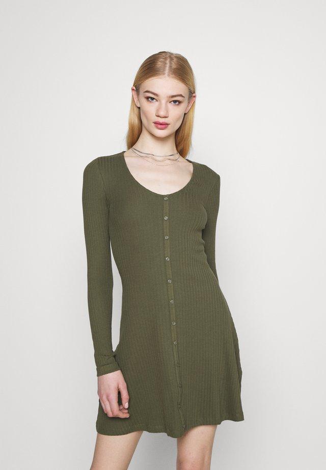 Ribbed button through mini dress - Jumper dress - green