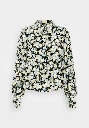 NALA BLOUSE - Button-down blouse - black dark unique