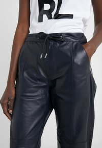 KARL LAGERFELD - CARGO PANTS - Leather trousers - peacoat - 3