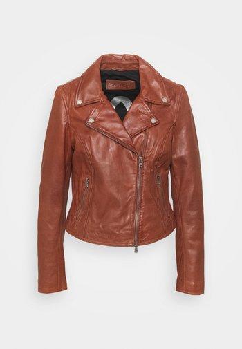 BALI - Leather jacket - brandy