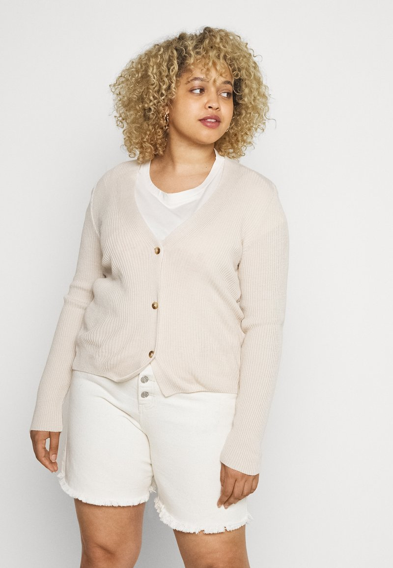 Missguided Plus - SKINNY CARDIGAN - Cardigan - beige