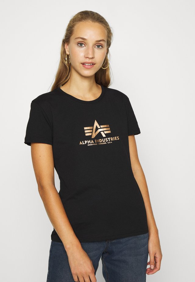 NEW FOIL - T-shirt z nadrukiem - black/gold