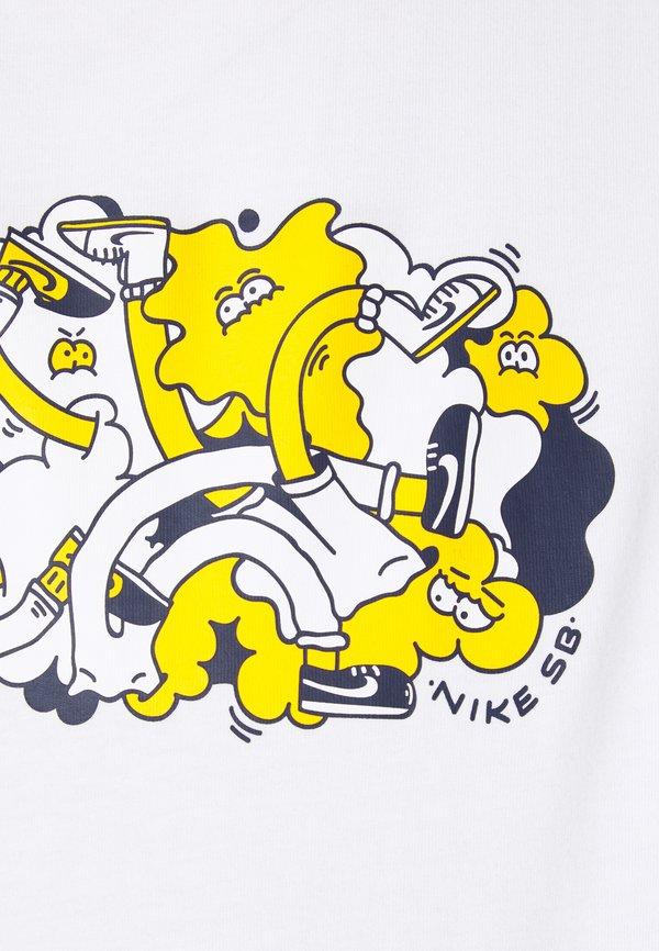Nike SB TEE TUSSLE UNISEX - T-shirt z nadrukiem - white/biały Odzież Męska TYVD
